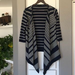 Sweaters - Blue and gray striped open front cardigan